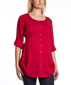Take a look at this Fuschia Shirred Roll-Tab Sleeve Maternity Tunic - Women on zulily today!