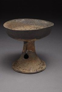 Pedestal bowl  Korea, South Gyeongsang province, Haman-gun  Three Kingdoms period (57 BCE-935 CE), Gaya federation, 5th century | Gray stoneware with natural ash glaze