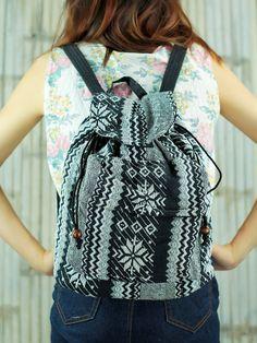 Black Ikat Abstract tribal native desing backpack School Bag/ Ethnic rucksack/ holiday bag /Hippie /Boho/ Folk /Gypsy /handwoven/ tapestry