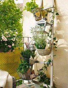 Installer un jardin de fleurs et plantes sur un petit balcon avec jardinière sur rambarde et structure bois sur mur