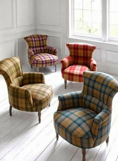 Tartan Armchairs - Ideas on Foter Tartan Chair, Tartan Decor, Tartan Fabric, Poltrona Bergere, Poltrona Vintage, Take A Seat, Upholstered Chairs, Sofa Chair, Country Decor