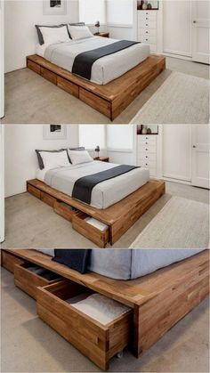 Minimalist Bedroom Design for Modern Home Decor - Di Home Design Pallet Furniture, Bedroom Furniture, Furniture Design, Bedroom Decor, Furniture Projects, Wood Pallet Beds, Reclaimed Wood Beds, Bedroom Headboards, Wooden Bed Frame Diy