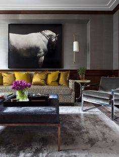 Dering Hall. Living Space. Decor. Interior Design. Dark. Masculine. Horse Art. Photography. Mustard.