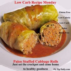 Low Carb Paleo Cabbage Rolls - cabbage, ground beef, ground pork (or more beef), onion, garlic powder, cauliflower, sea salt, black pepper, canned crushed tomatoes, tomato sauce, spray olive oil