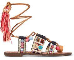 Sandales en toile brodée et en cuir Sam Edelman