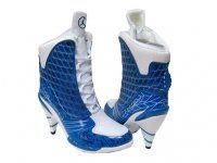 48dacf9b76df35 authentic Air Jordan 23 High Heels Blue White and cheap Air Jordan Shoes Air  Jordan Heels. Womens Jordan Boots