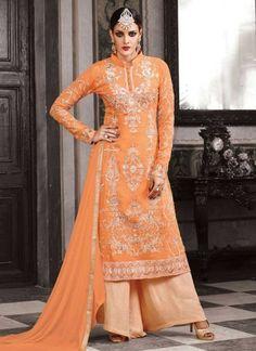 Outstanding Orange Embroidery Work Georgette Pakistani  Palazzo Suit http://www.angelnx.com/Salwar-Kameez