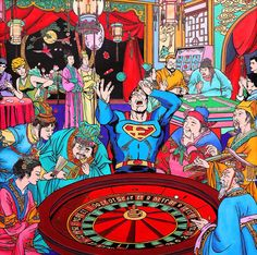 Chinese artist Jacky Tsai, based in London, transporting the American superheroes into ancient China, from Superman to Captain America through Spiderman or Wonder Woman. Entitled The Harmonious Society Pop Art, Western Comics, Bristol Board, Art Society, Old Comics, Marvel, Art Series, Ancient China, Macau