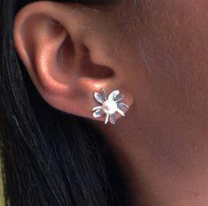 Very Cute Freshwater Pearl Earrings in 14-karat White Gold Mountings.  Very Easy to Wear.