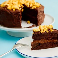 Vegan chocolate cake inspired by Half Baked Harvest and topped with delicious honeycomb.