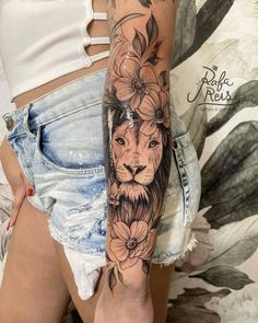- turn on the notifications for daily updates * Tag somYou can find Tattoo ideas and more on our website. Dope Tattoos, Forearm Tattoos, Unique Tattoos, Black Tattoos, Small Tattoos, Tatoos, Lion Tattoo With Flowers, White Flower Tattoos, Wrist Tattoo Cover Up