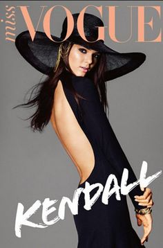 Who made Kendall Jenner's black backless dress that she wore on the cover of Miss Vogue magazine?