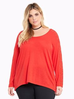 Torrid Lace Insert Hi Lo Tee Red Size 3  22/24 3X NEW Never Worn #Torrid #Tee