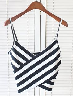 Black and White Stripe Cami Crop Top from Hello Styles. Saved to Tops. Cami Crop Top, Sleeveless Crop Top, Striped Crop Top, Cropped Tops, Looks Chic, Mode Outfits, Mode Style, Dress To Impress, Womens Fashion