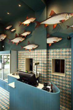 Bar Interior Design, Restaurant Interior Design, Cafe Interior, Cafe Design, Store Design, Restaurant Fish, Supermarket Design, Hotel Concept, Hotel Amenities