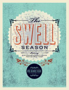 lovely Swell Season gig poster from Aesthetic Apparatus...