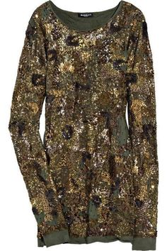 BALMAIN PARIS Sequined Army Green Top Dress FR 40 NEW US 10 / M