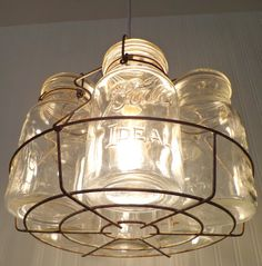 DIY Basket Light Fixture (DIY Basket Light Fixture) design ideas and photos – Fixtures 2020 Hanging Light Fixtures, Kitchen Lighting Fixtures, Pendant Light Fixtures, Hanging Lights, Pendant Lighting, Jar Lights, Mason Jar Light Fixture, Chandelier, Mason Jar Lighting