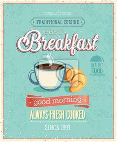 Sticker Affiche vintage de petit déjeuner.