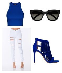 """""""Blue Velvet"""" by layyy-layyy on Polyvore featuring Topshop, Steve Madden and Yves Saint Laurent"""
