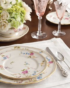 Sunnyvale china from Castleton USA. Chateau Rose flatware from Alvin Silver and Flanders-Pink crystal from Tiffin/Franciscan