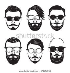 Hipster face on a white background. Bearded man.