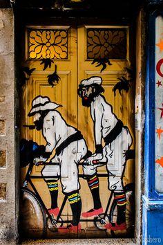 A graffiti of a painting by Ramón Casas in the streets of Barcelona, Spain Ramon Casas and Pere Romeu on a Tandem Cool Doors, Unique Doors, Painted Doors, Wooden Doors, Slab Doors, Entrance Doors, Doorway, Front Doors, Porte Cochere