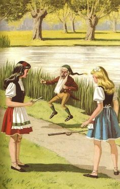 """Snow White And Rose Red - Rose Red cut the dwarfs beard """"I hope you run until you have no soles on your shoes"""" spat the dwarf.."""