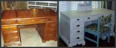 desk - my current desk is identical to this. hmmm - refinishing doesn't seem like a bad idea now.