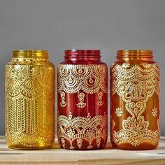 Eclectic Jar Lantern, Boho Chic Table Decor,  Boho Henna Lamp for Your Bohemian Patio