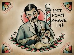 Barber and Patron Tattoo Print by ParlorTattooPrints on Etsy