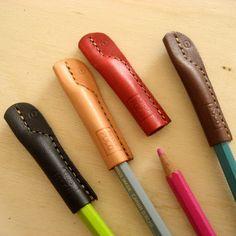 革の鉛筆キャップ Leather pencil caps