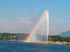 The Jet D'Eau in Geneva; one of the world's largest water fountains. It forces 132 gallons of water to heights reaching 459 feet at 124 mph. Remarkable!