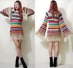 CROCHET Kleid bunte Streifen Fringe Oma Square von cruxandcrow