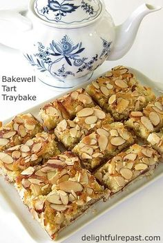 Bakewell Tart Traybake – the quick and easy way to make a Bakewell Tart / www. Tray Bake Recipes, Baking Recipes, Dessert Recipes, Bakewell Tart, Bakewell Traybake, Bakewell Pudding, Traybake Cake, British Baking, Almond Cakes
