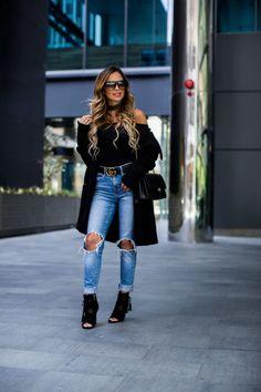 dfb7e380c How To Wear A Sweater Coat - Sweater Coat // Topshop Bodysuit // Levi's  Jeans // Gucci Double G Belt // Nordstrom Black Booties // Celine  Sunglasses ...
