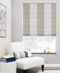 Cascade Roman Shades - Choose From 400+ Exclusive Fabrics – As Shown: Material: Hampton Stripe, Color: Beach