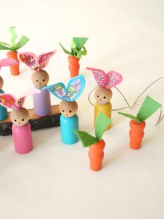 Easter DecorationaBunnies, Pick TWO, wood BUNNIES, Easter Basket, Easter bunny Spring decoration, teacher gift. $10.50, via Etsy.