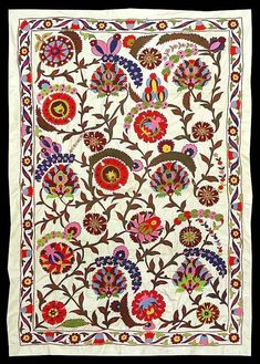 This is an Uzbek-Ottoman silk hand embroidered Suzani. It has a pattern typical for old Ottoman Turkish embroidery. It is almost entirely filled with beautiful embroidery. Textile Prints, Textile Patterns, Textile Art, Embroidery Patterns, Print Patterns, Silk Ribbon Embroidery, Hand Embroidery, Motif Oriental, Morris
