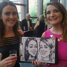 Caricature of 2 girls on  business award 2017 Aylesbury