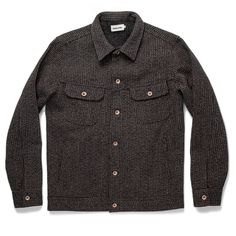 The Long Haul Jacket in Wool Beach Cloth. It's not easy to strike a balance between form and function, but our newest Long Haul Jacket hits the mark. Don't let the stunning, textural finish of thi. Taylor Stitch, Long Haul, Piece Of Clothing, Button Up Shirts, Men Sweater, Mens Tops, Clothes, Wool, Men's Jackets