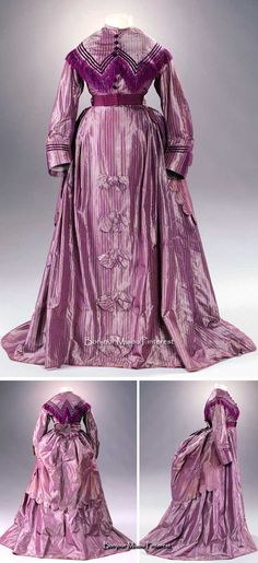 Dress, British, ca. 1869-70. Striped purple-yellow silk taffeta with satin ribbon and fringe. Photo: Anna C. Wagner/Rheinisches Bildarchiv Köln. Museum of Applied Arts, Cologne, via Kulturelles Erbe Koeln