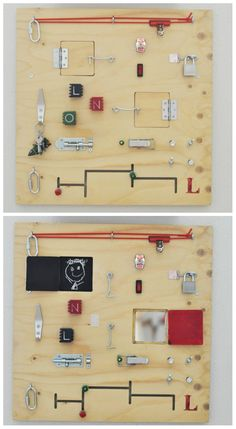 Homemade Busy Board|Great for Fine Motor Development...want one of these for the school!