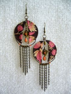 Calico Nouveau fabric earrings by CoCoJoJoOriginals on Etsy, $32.00