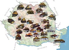 Map of traditional houses. Harta - Tipuri de Case Taranesti, Romania.