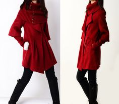 Little Red Hood - cashmere coat and neck warmer set (Y1229). $145.00, via Etsy.