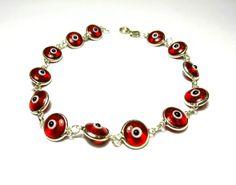 Evil eye amulet-Silver bracelet-Sterling silver-Evil eye bracelet-Glass eye beads-Greek mati-Chain & link bracelet-Silver jewelry-Greek