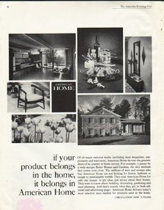 """1961 AMERICAN HOME MAGAZINE vintage magazine advertisement """"it belongs"""" ~ if your product belongs in the home, it belongs in American Home - Of all major national media (including mass magazines, supplements and television), American Home devotes the greatest share of its content to home service. ~ Size: The dimensions of the full-page advertisement are approximately 10.5 inches x 13.5 inches (26.75 cm x 34.25 cm). Condition: This original vintage full-page advertisement ..."""