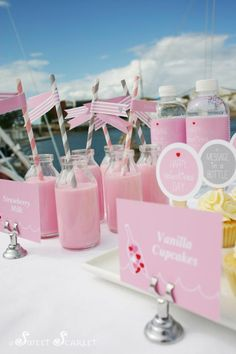 Wouldn't you just love to be whisked away this Valentine's Day? Elise of Sweet Scarlet captured my heart with this nautical themed Message in a Bottle Valentines Party Valentines Day Photos, Valentines Day Party, Vanille Cupcakes, Party World, Pink Milk, Message In A Bottle, Pink Parties, Baby Shower Parties, Scarlet