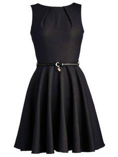Concise Crew Neck Plain Skater-dresses | fashionmia.com
